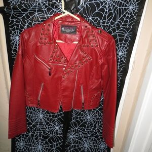 Studded Red Leather Jacket